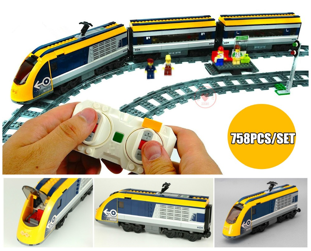 New City RC car Passenger Train station Sets fit legoings technic city figures Model Building Blocks 60197 diy Toy Gift kid new city series the cargo train set city train fit legoings city technic train car building blocks bricks toy 60198 diy kid gift