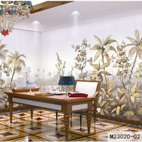 Custom Fabric Textile Wallcoverings For Walls Retro Cotton And Linen Washable For Living Room European Landscape