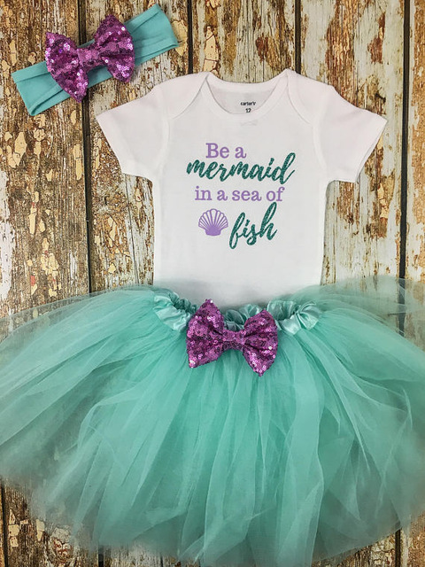 32451e656 Cusromize Mermaid first birthday Newborn infant bodysuit onepiece Tutu Dress  romper Outfit Sets baby shower party