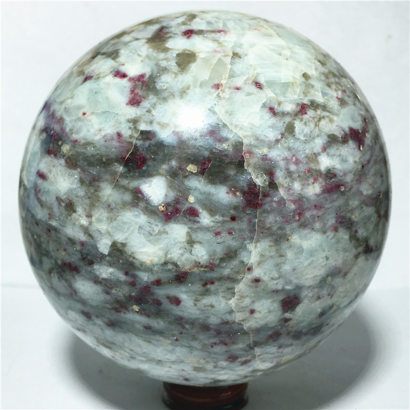 Ball Narural rubellite quartz Crystal Stone and craft reiki healing Decorative ball (108mm)