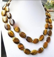 Hot sell LONG 36 INCHES GENUINE NATURAL TIGER EYE GEMS STONE OVAL BEADS NECKLACE Bridal jewelry free shipping