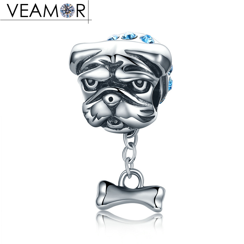 VEAMOR 925 Sterling Silver Cute Bulldog Dog Animals Doggy Charms Beads Fit Pandora Bracelets & Bangles Women DIY Jewelry Making
