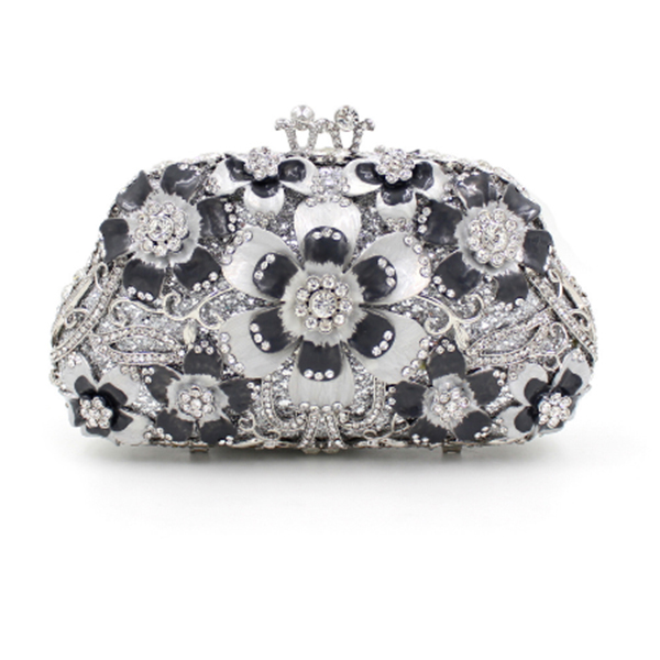 lady/'s diamante evening clutch bags floral brooch black silver gold pink purple