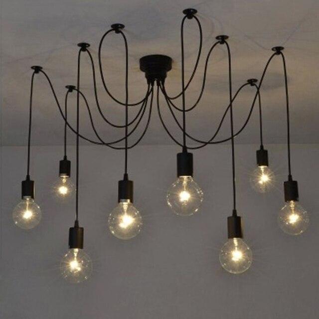Vintage Kronleuchter Loft Spinne Glanz DIY E27 Einstellbar Wohnzimmer  Beleuchtung Für Küche Restaurant Kronleuchter Fixture Lichter