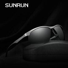 SUNRUN Classic Polarized Men Sunglasses Square Semi-Rimless Fashion Sun Glasses Aluminum Magnesium Frame Driving  Gafas 2315