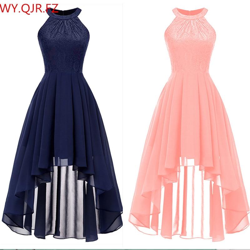 OML538F#Neck Lace Chiffon Halter Evening Dresses Front High Back Low Dark Blue Fink Wine Red Violet Prom Party Dress Wholesale