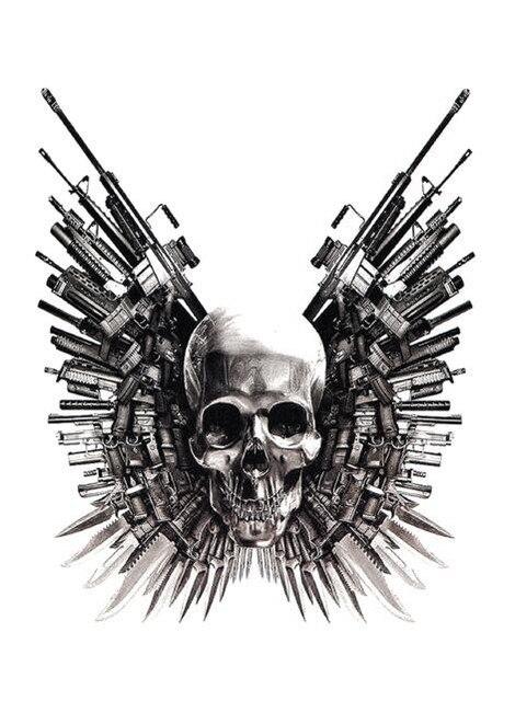 Cráneo pistola espada Punk tatuaje temporal grande pegatina impermeable hombres adultos mujeres hombro falso tatuajes 15X11cm 1