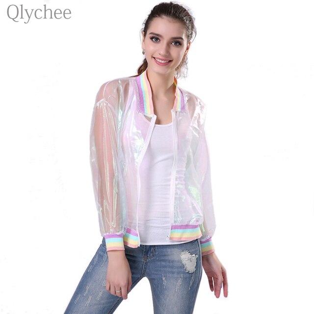 Qlychee Harajuku Летом Женская Куртка Лазерная Радуга Солнцезащитный Крем Непроницаемый Для Солнечных Лучей Симфония Слой Прозрачный радужный Прозрачный Джерси Куртка