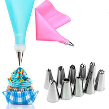 12 PCS/SET Silicone DIY Icing Piping Cream Pastry Bags +10X Nozzle Set Cake Decorating Tool