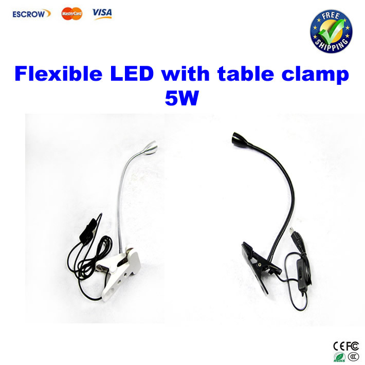 BGA machine tool: Flexible led light LED lamp with table clamp 5W,40CM flexible spring <font><b>pipe</b></font> with switch BLACK/WHITE