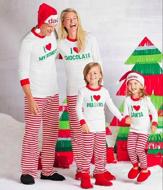 fashion letter printed white shirts + red and white striped pants santa  outfit for matching family christmas pajamas set e225040a4
