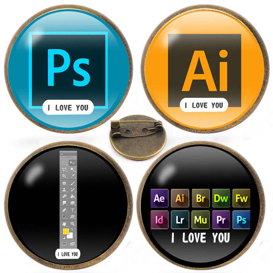 New Illustrator Photoshop Pins I Love You Brooch Toolbar Lapel Pin AI PS  Glass gems Pins Brooches for Designers and Artists