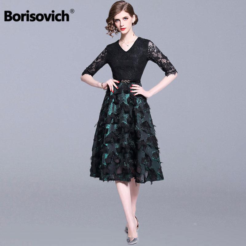 Borisovich Ladies Elegant Party Dresses New Brand 2019 Spring Fashion Patchwork Lace Elegant A-line Women Casual Long Dress N839