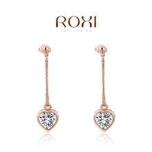 ROXI Brand Wholesale New Jewelry Love Heart Pendant Rose Gold Platium Plated Ear Stud Earrings For Women Party Wedding