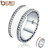 BAMOER Genuine 925 Sterling Silver Radiant Hearts White Enamel Clear CZ Finger Ring For Women Wedding