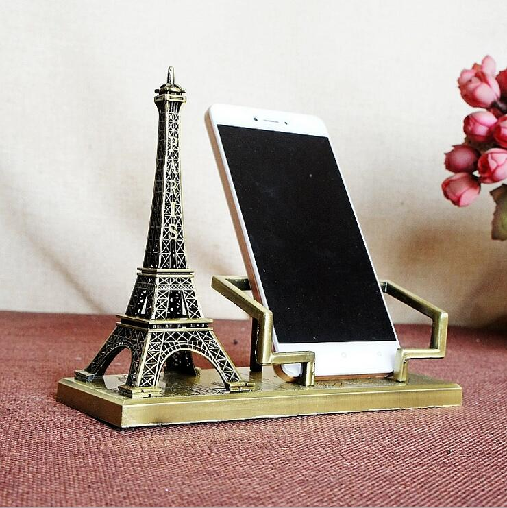 Eiffel Tower Mobile Phone Rack Metal Crafts Alloy Gifts Office Home Decorations