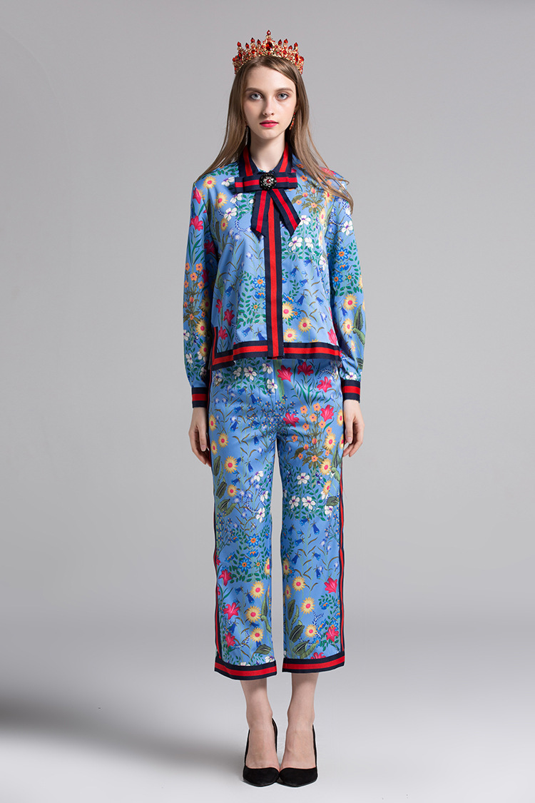 Fashion womans florla print bowtie shirt+pencil pants two piece set 2017 Fall runways S-3XL plus size pantsuits Chic blouse set