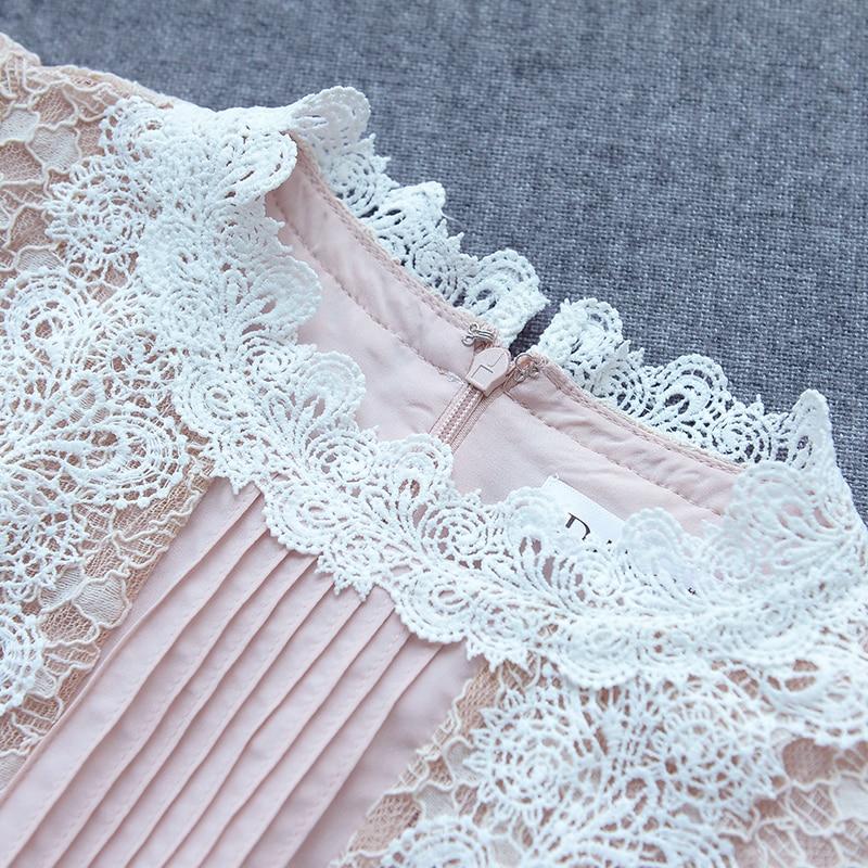Damskie panie lato nowy elegancki koronki kołnierz krótki rękaw różowa sukienka D17BDR211 w Suknie od Odzież damska na  Grupa 3