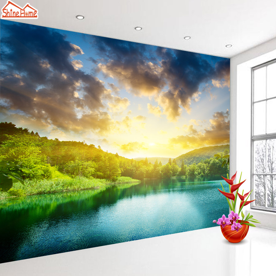 ShineHome-Seascape Forest Lake in Sunset Wallpaper Rolls for 3d Walls Wallpapers for 3 d  Living Rooms Wall Paper Murals Roll shinehome sunflower bloom retro wallpaper for 3d rooms walls wallpapers for 3 d living room home wall paper murals mural roll