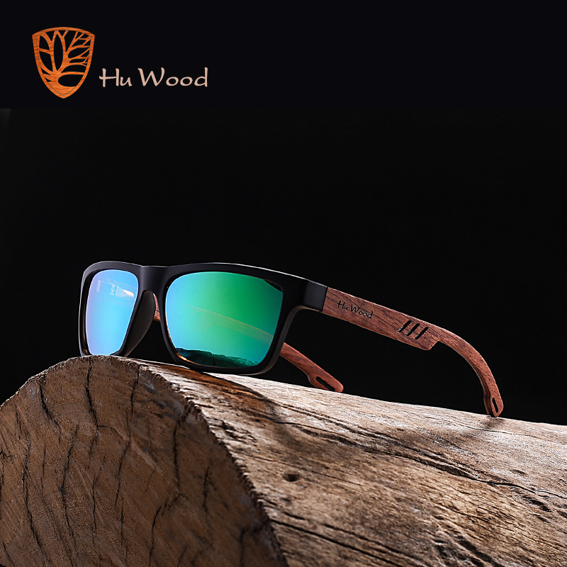HU WOOD Brand Design Zebra Wood Sunglasses For Men Fashion Sport Color Gradient Sun glasses Driving Fishing Mirror Lens GRS8016