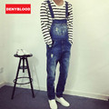 2016 Autum New Arrival Stretched Mens Slim Straight Denim Overalls Distressed Jeans Ripped Jumpsuit Male Suspenders Bibs 279