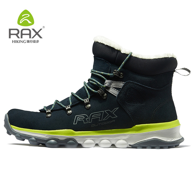 RAX Hiking Boots Men Winter Warm Outdoor Professional Sports Snow Boots for Women Anti-slip Lightweight Hiking Shoes PlushLining