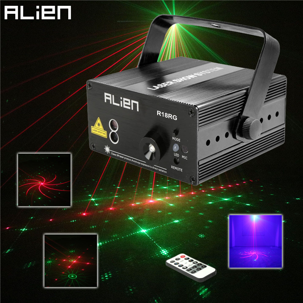 ALIEN Mini RG 18 Patterns Remote Laser Stage Lighting Effect DJ Disco Party Dance Holiday Xmas Led Blue Laser Projector Light mini rgb led party disco club dj light crystal magic ball effect stage lighting