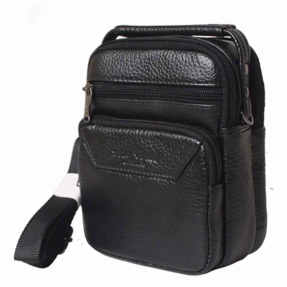 100% Genuine Leather Mobile Phone Waist Bag Business Men Mini Handbag Male Natural Cowhide Tote Messenger One Shoulder Bags