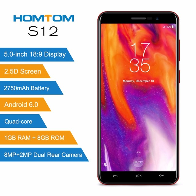 HOMTOM S12 18:9 Display Smartphone 5.0 inch MTK6580 Quad Core Android 6.0 1G RAM 8G ROM 2750mAh Dual Rear Camera 3G Mobile phone