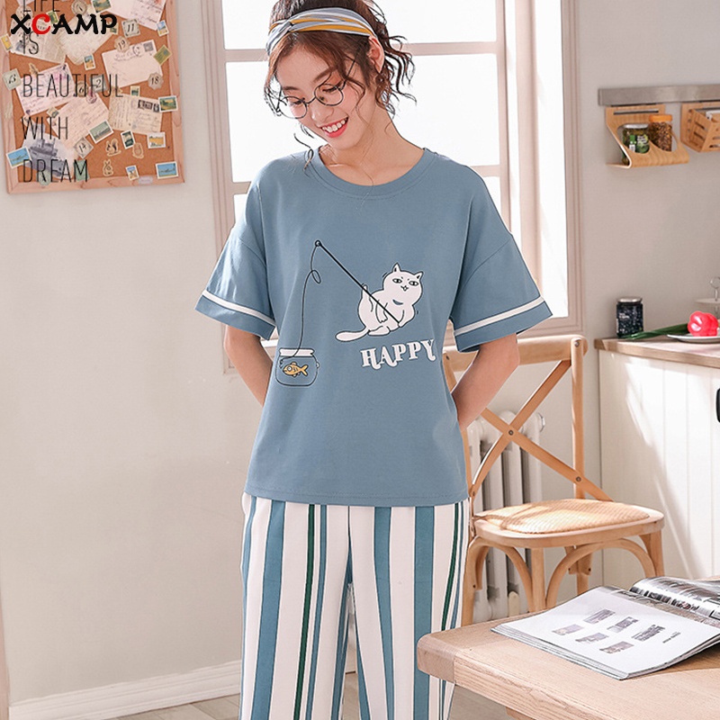 XCAMP Women   Pajamas     Set   Summer Clothes For Women Sleepwear Calf- Length Pants Cotton Print Casual Style Women Nightgown