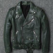Высококачественная мотоциклетная куртка из натуральной овчины с отложным воротником, мужская Тонкая Регулируемая приталенная куртка из натуральной кожи с блестками