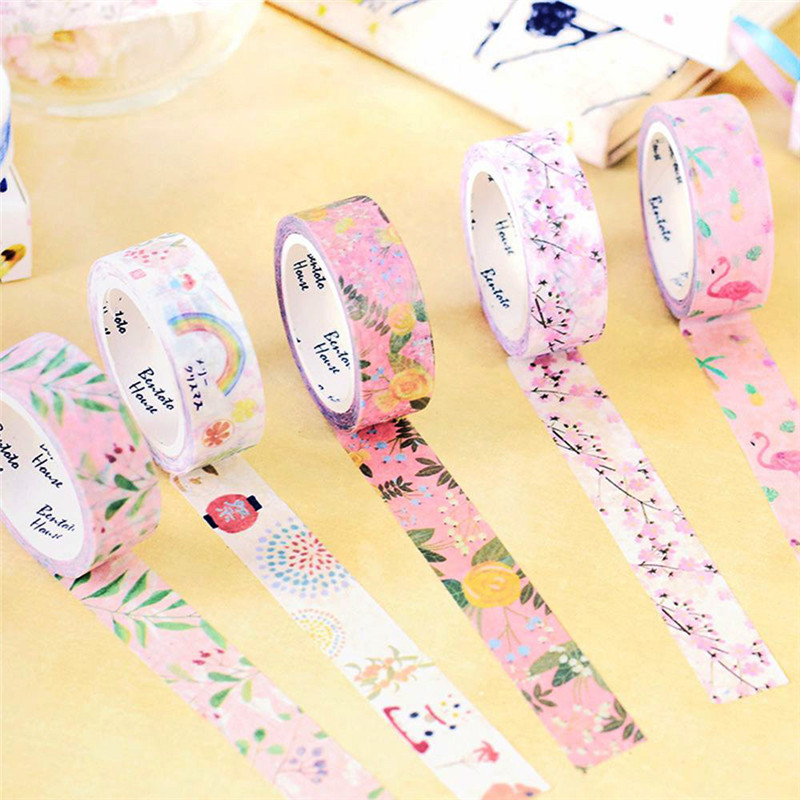 Cherry Donut Watercolor Flowers Decorative Washi Masking Tape DIY Scrapbooking Office Stationery Adhesive Tape Diary Album Decor