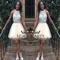 Two Piece Halter Curto do Regresso A Casa Vestidos Sheer Top Colheita Prata Frisada de Cristal Champagne Luz 2017 Meninas Prom Party Vestido Barato
