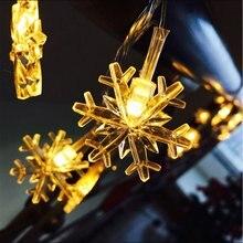 Гирлянда в виде снежинок Свет Рождества 10/20/50LED светодиодная гирлянда на открытом воздухе AA BatteryUSB питание гирлянда светильники Декоративное освещение