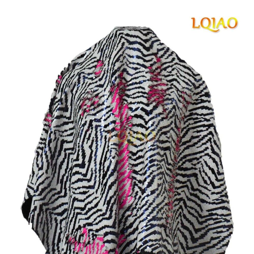 130 cm * 90 cm sirène réversible Sequin rayure tissu pour Patchwork oreiller housse de coussin tissu robe tissu-zèbre blanc-néon rose