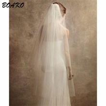 BOAKO 120cm White Ivory Cathedral Wedding Veil With Coumb Two Layer Cut Edge Long Bridal Accessories Velos De Novia