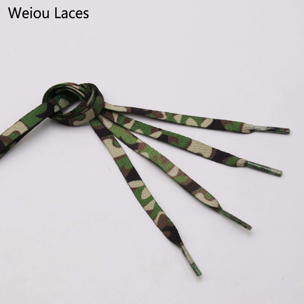 Weiou 7mm Digital Print Flat Camouflage Shoelaces Sublimated Heat Transfer Sneakers Sports Shoe Laces For Casual Athletic Boots