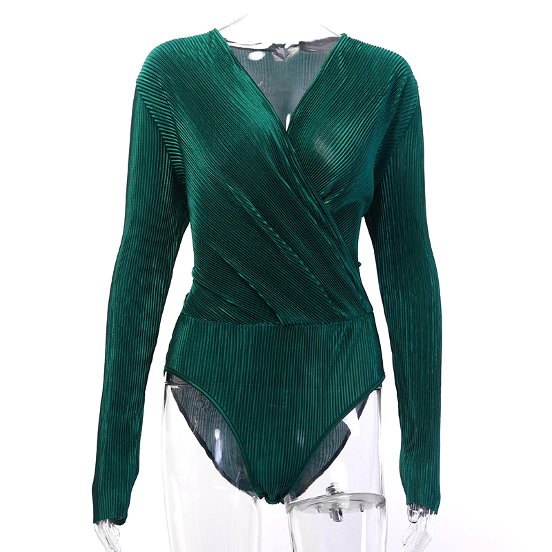 HTB12RPRTxTpK1RjSZFKq6y2wXXa8 - InstaHot Sexy Long Sleeve V Neck Bodysuit for Women Summer New Fashion Green Textured Shirts Button Tops Elegant Playsuits