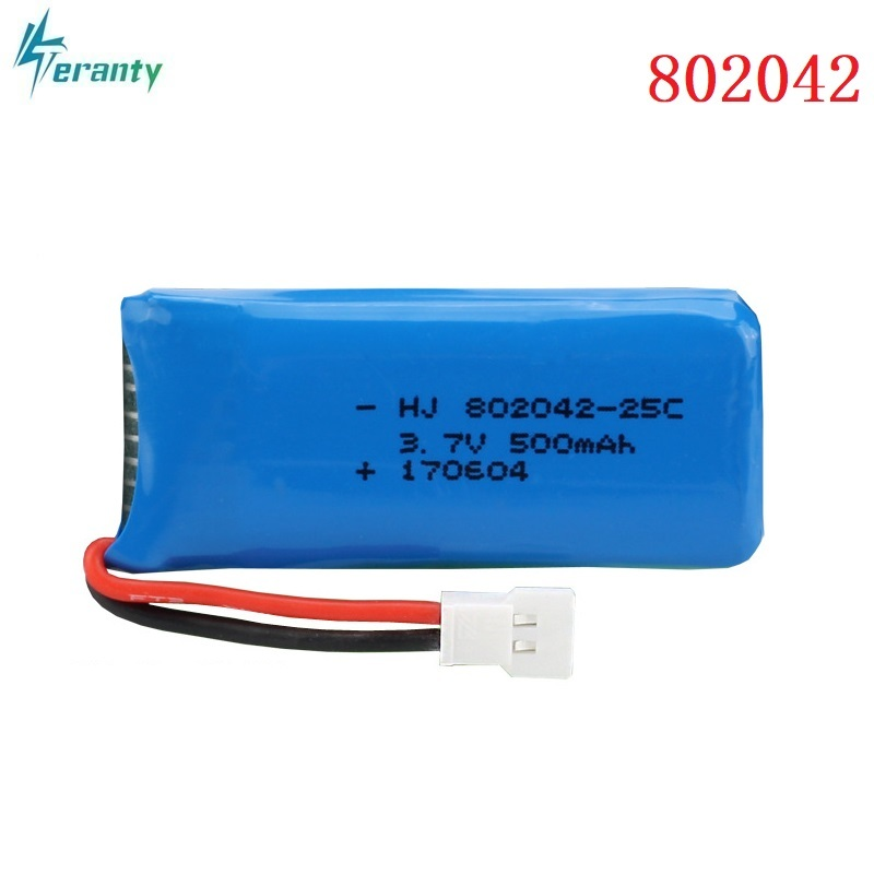 3.7V <font><b>500mah</b></font> 25c Lipo <font><b>Battery</b></font> For Udi U816A U941 U927 H43 wifi818 JXD385 H107 V252 F186 Li-po <font><b>battery</b></font> <font><b>3.7</b></font> V 802042 <font><b>Batteries</b></font> image