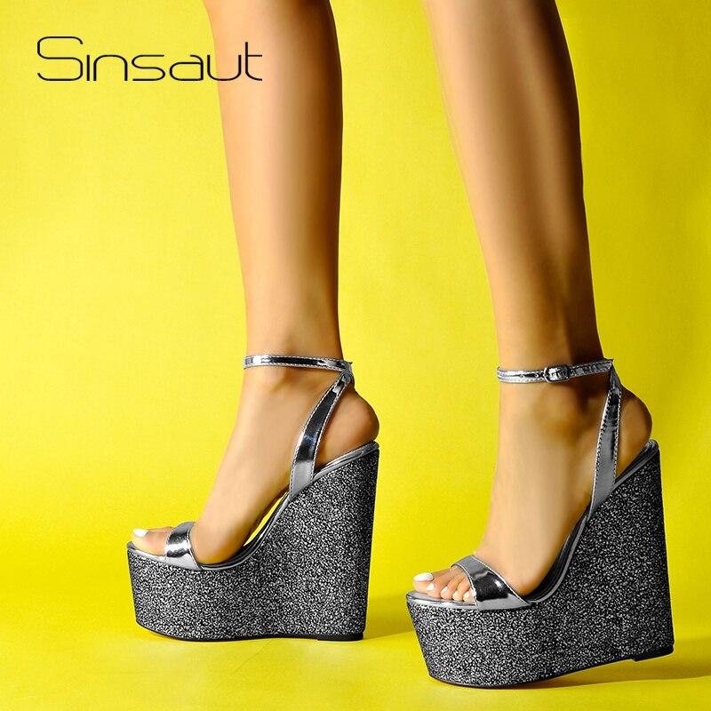 Sinsaut Shoes Women sandalias Platform Sandals High Heels Shoes Ankle Strap Silver Wedges Ladies Sandals Party