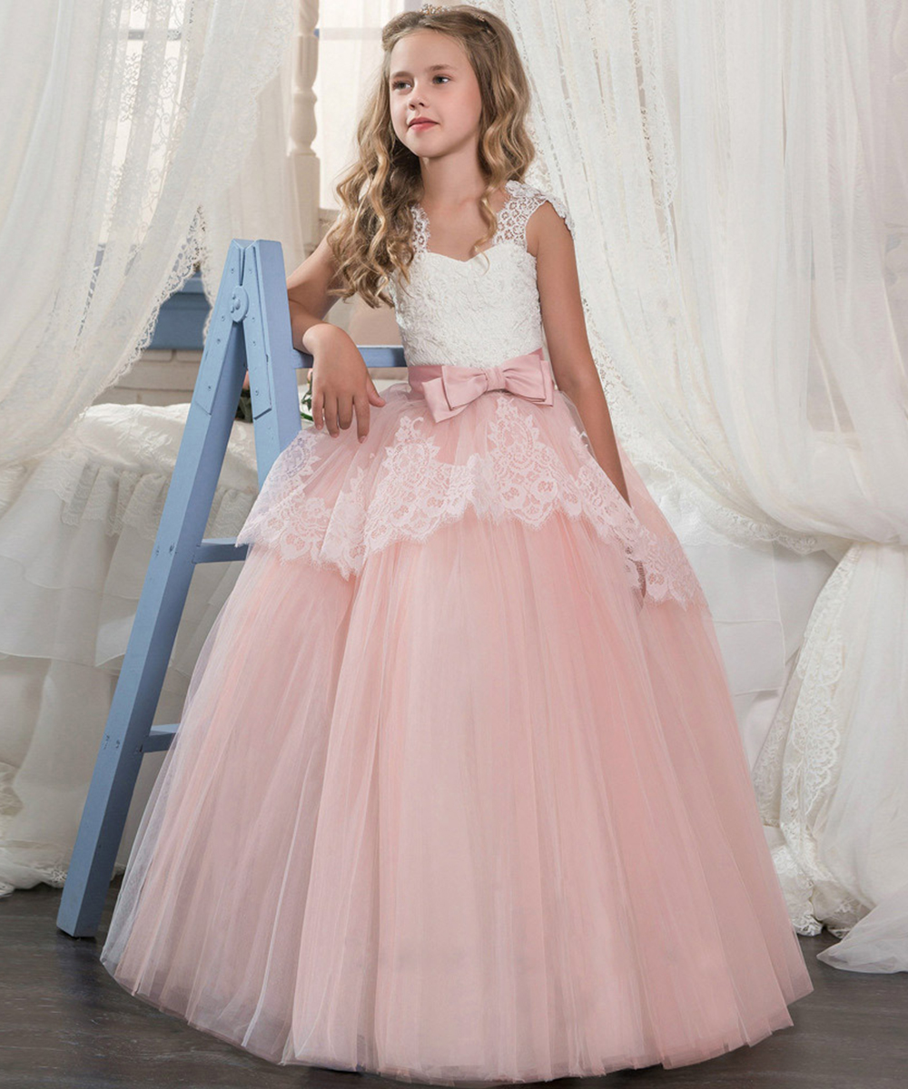 Princess Tulle Flower Girl Dresses 2019 Lace Appliqued Pageant Dresses Girls First Communion Dresses Girls Party Gowns