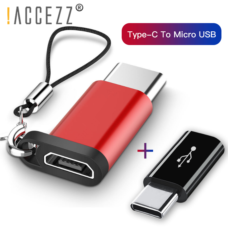!ACCEZZ 2PC Mobile Phone Adapter For Samsung S9 S8 Huawei P20 P10 Xiaomi OTG Micro USB To TypeC Male Connector Key Chain Adapter