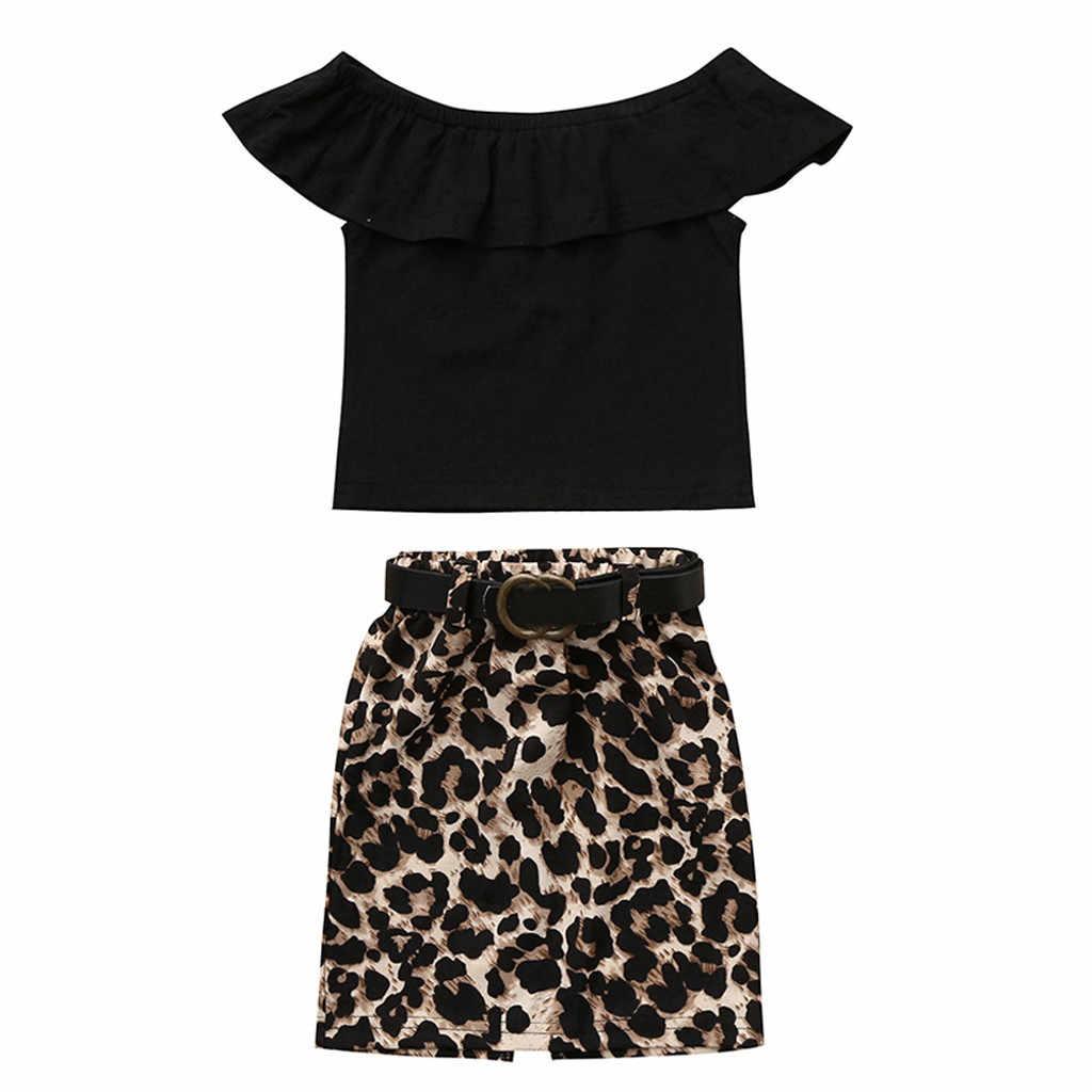 SAGACE letnie dzieci dziewczynka ustawia maluch dzieci dziewczynka Off powinien T shirt topy Plus wzór w cętki spódnica dla dziewczynki zestawy