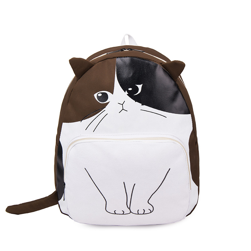 Fashion Cat Printing Backpack Women Canvas Backpack School Bags For Teenagers Ladies Casual Cute Ear Cat Rucksack Book Bag 2016 hot sale fashion canvas cute mustache school book bag vintage women backpack casual women backpack