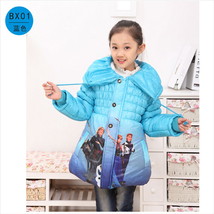 Jaket Musim Sejuk Untuk Girls Parka Snow Queen Pakaian Elsa Jacket Girls Long Winter Coat Anak Down Jacket For Snowsuit Girl