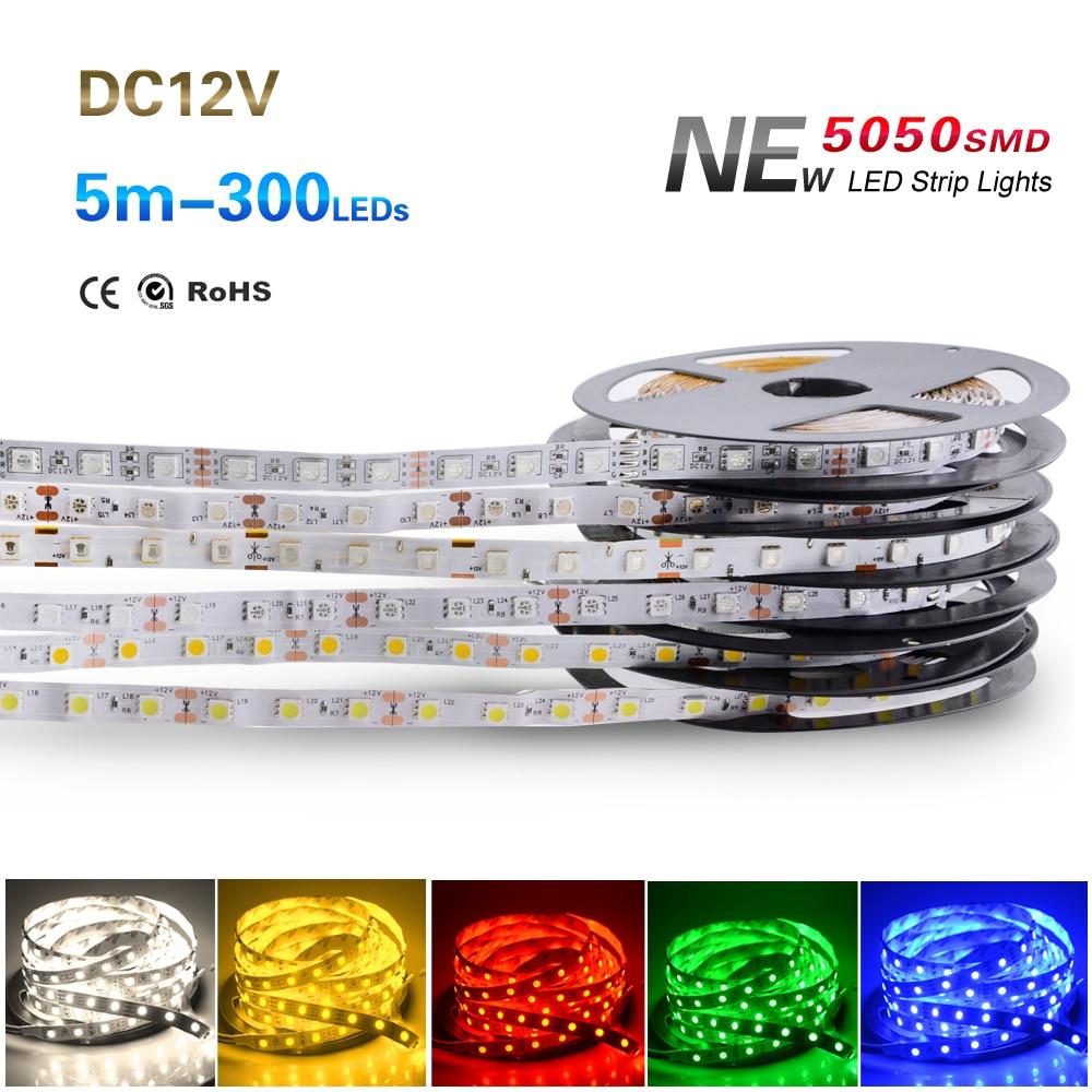 2019 New Style New 5m/roll Waterproof Rgb Led Strip 5050 Smd Led Tape Dc 12v 60leds/m Fita Flexible Ribbon String Ip20 Ip65 Ip67 300leds Soft And Light Led Lighting