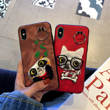 For iPhoneX Embroidery Mobile Phone Case Apple 7/8plus Animal Skin Three-dimensional Buckle Protector