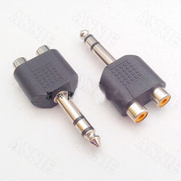 100pcs/lot 6.35 Double Track Male To Double RCA Female Adaptor 6.5 to AV 6.35 To RCA Changeover Socket One-to-two
