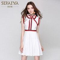 New High Quality Brand Summer Korean Sleeveless Bow Schoolgirl Dress Women Elegant Sexy Trend Ladies OL
