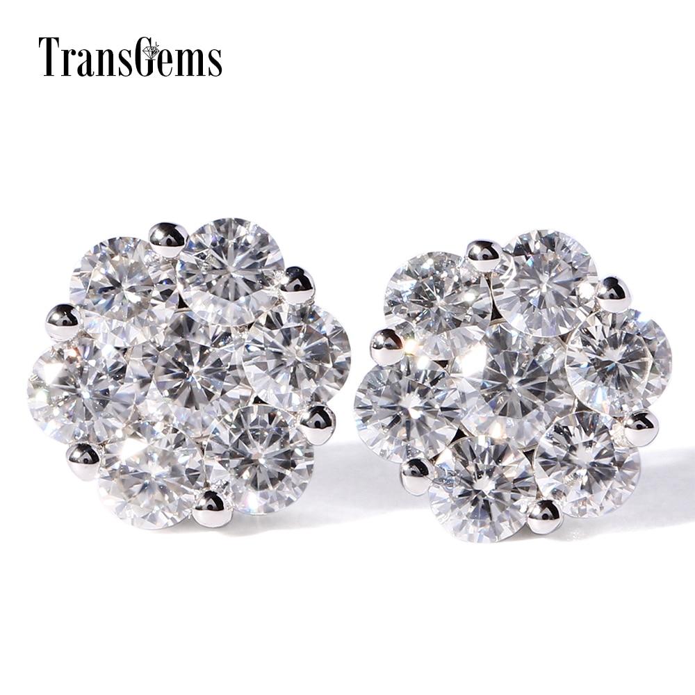 TransGems Solid 18K White Gold 1 60 CTW F Color Clear Moissanite Diamond Stud Earrings Flower